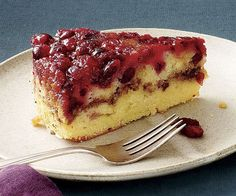 Cranberry Streusel Upside-Down Cake .  A sweet cinnamon-pecan streusel layer counters the tartness of the cranberries in this tender, scrumptious cake.