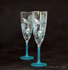Butterfly Wedding Champagne Glasses Hand Painted by NevenaArtGlass