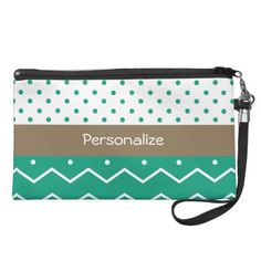 Emerald Chevrons and Polka Dots With Name Wristlet Clutches $49.95 #ohsogirly #fashionaccessories #giftsforher #bags