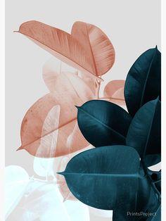 Blush Pink Leaves Above Bed Wall Art Wedding Gift Blue Plant Print Botanical Plant Wallpaper, Colorful Wallpaper, Flower Wallpaper, Pattern Wallpaper, Bedroom Wallpaper, Blush Pink Wallpaper, Wallpaper Art, Trendy Wallpaper, Bedroom Art