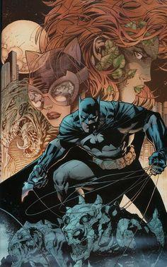 Batman, Killer Croc, Catwoman & Poison Ivy by Jim Lee Jim Lee Batman, Batman Hush, Batman The Dark Knight, Batman Dark, Im Batman, Batman Robin, Superman, Batgirl, Batman Und Catwoman