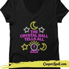 Crystal Ball Tells All Psychic Neon Sign Fortune Teller Gypsy Readings Kitschy Halloween Fun Apparel Casper Spell (www.CasperSpell.com)