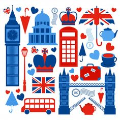 London symbols collection of tower bridge big ben and telephone booth culture isolated vector illustration London Illustration, London Icons, London Eye, Vector Photo, Displaying Collections, Tower Bridge, Travel Posters, Clipart, Images