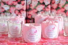Detalles de bautizo velas aromaticas en rosa Baby Shower Candle Favors, Baby Shower Decorations, Baptism Favors, Baptism Ideas, 1st Birthdays, Handmade Flowers, Soy Candles, Baby Boy Shower, Christening