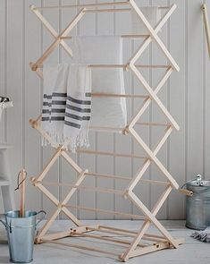 The classic Folding Wooden Clothes Horse has a concertina design that offers ample space and with the option of a two-height setting Wood Furniture, Furniture Design, Pine Timber, Clothes Drying Racks, Clothes Dryer, Clothes Horse, Smart Home, Ladder Decor, Diy Home Decor