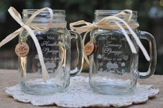 Great for a Rustic Wedding or Thanksgiving - Pumpkin Wedding Glasses - Mason Jars - Personalized. Mason Jar glasses to be etched with personal details. Includes cherry wood charms. http://aftcra.com/designimageryengraving/listing/5898/thankgiving-pumpkin-wedding-glasses-mason-jars-personalized
