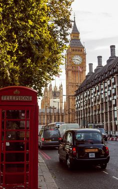 Quintessential London...Big Ben, black cab, and red phone box