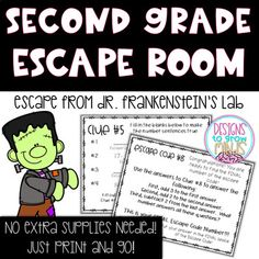 Adding and Subtracting within 20 Escape Room Activity- Second Grade from Designs to Grow Minds Halloween Party Activities, Classroom Halloween Party, Halloween Math, Second Grade Games, 2nd Grade Math, Third Grade, Escape Room, Math Early Finishers, Adding And Subtracting