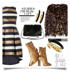 """""""Gold stories from the city"""" by ildiko-olsa ❤ liked on Polyvore featuring Gianvito Rossi, Dries Van Noten, Chico's, Michael Kors, Hemingway and Torrid"""