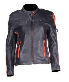 c7cf65737e384 Womens Leather Racer Jacket with Orange Stripes z o Liner Padded Lower Back   fashion