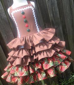 Ready to Ship Custom Boutique Gingerbread Girl Ruffle Dress Christmas 4 5 6