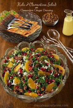 Kale and Clementine Salad with Clementine Ginger Dressing - bright and fresh, this one seems to please even the most discriminating palates!