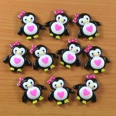 10pcs Valentine's Day Penguin w/ Pink Heart Resin Flatback Hair Bow Cabochons