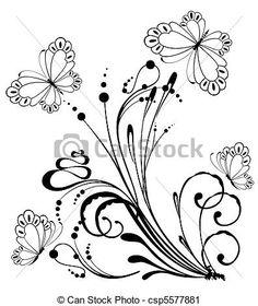 Vector - tropical, flores, mariposa - stock de ilustracion, ilustracion libre de, stock de iconos de clip art, logo, arte lineal, retrato de EPS, Retratos, gráficos, dibujos gráficos, dibujos, imágenes vectoriales, trabajo artístico, Arte Vectorial en EPS