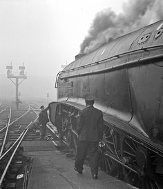 A Leeds express is prepared for departure from Kings Cross headed by Pacific 60006 'Sir Ralph Wedgewood' on a very foggy October Negative scan. Electric Locomotive, Diesel Locomotive, Steam Locomotive, Old Trains, Vintage Trains, Vintage Dog, Steam Trains Uk, Steam Railway, Train Times