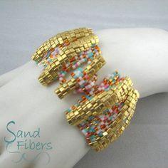 Large Golden Summer Ripples Peyote Cuff An Original door SandFibers
