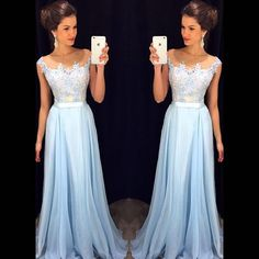 Long Evening Dresses 2016 New Arrival Formal Dresses Sweetheart Chiffon Blue Floor Length robe de soiree