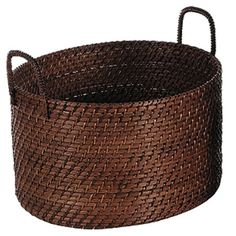 Crafted from woven rattan and showcasing a double-handled design, this oval basket brings classic appeal to your entryway or kitchen. Colourful Living Room, Rattan Basket, Lombok, Florida Home, Wooden Crafts, Fashion Room, Joss And Main, Storage Baskets, Basket Weaving
