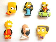 of 6 the Simpsons Shoe Charms - Jibbitz Croc Style Simpsons Toys, The Simpsons, Croc Charms, Rubber Duck, Crocs, Bowser, Garden Tools, Charmed, Creative