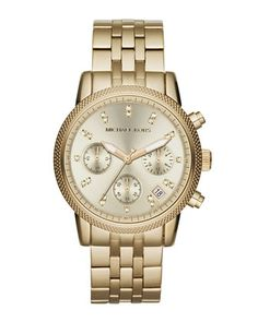 Michael Kors Mid-Size Golden Stainless Steel Ritz Chronograph Glitz Watch.  I need a new watch, and I keep looking back to this one.  Maybe soon...