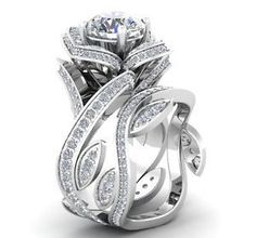 Stunning Rose Engagement Ring and Matching Wedding Band
