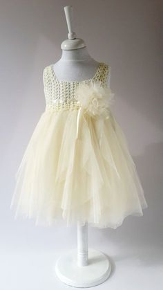 Ivory Empire Waist Baby Tulle Dress with Stretch Crochet Top.Tulle dress for girls with lacy crochet bodice. Crochet For Kids, Crochet Baby, Crochet Top, Baby Tulle Dress, Boy Crochet Patterns, Girls Dresses, Flower Girl Dresses, Tulle Flowers, Handmade Dresses