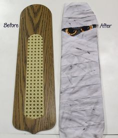 Repurpose a ceiling fan blade into a Halloween mummy to hang on your front door. Gather your supplies: fan blade, dollar store/Walmart spooky eye window cling… Ceiling Fan Parts, Ceiling Fan Blades, Ceiling Fans, Fall Halloween, Halloween Crafts, Halloween Party, Halloween Halloween, Vintage Halloween, Halloween Costumes