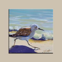 Beach painting of sandpiper bird running along the sand is featured in this 6×6 oil on gessoboard. Description from studio.pjcookartist.com. I searched for this on bing.com/images