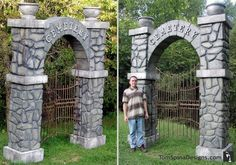 Theme park props for your home or business! These carved foam cemetery gates were made for Kings Dominion, but we can make them for your home or haunt too! Halloween Graveyard, Holidays Halloween, Halloween Crafts, Halloween Decorations, Foam Carving, Stage Design, Set Design, Stage Set, Cemetery