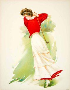 1908 Chromolithograph Maud Stumm Edwardian Golfer Lady Golf Swing Club Fashion | eBay