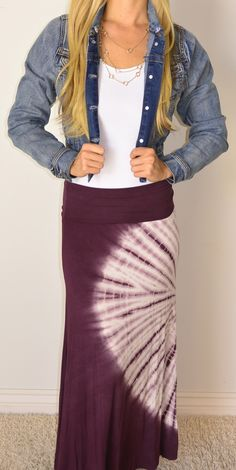 Naomi Tie Dye Skirt | SexyModest Boutique Modest Outfits, Tie Dye Skirt, Must Haves, What To Wear, Boutique, Denim, Lady, My Style, Pretty
