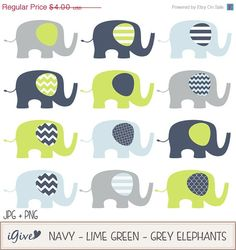 Items similar to Baby Elephants Navy Lime Grey / Elephant Illustration / Printable Clip Art / Commercial / Modern Art / Children / Nursery Art on Etsy Baby Whale, Baby Elephants, Make Your Own Invitations, Elephant Illustration, Grey Elephant, Blog Design, Nursery Art, Baby Shower Invitations, Green And Grey