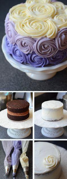 Purple Ombre Rose Cake Tutorial #ombre #cake #gradient #recipe