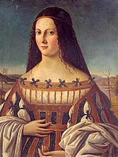 Lucrezia Borgia -- 18 April 1480 – 24 June was the illegitimate daughter of Rodrigo Borgia, the powerful Renaissance Valencian who later became Pope Alexander VI, and Vannozza dei Cattanei. Her brothers included Cesare Borgia, Giovanni Borgia, and Gi Lucrezia Borgia, Los Borgia, The Borgias, Renaissance Portraits, Renaissance Fashion, Italian Renaissance, Renaissance Art, European History, Women In History
