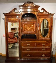 ~ Exceptional Quality Mahogany Inlaid Victorian Period Wardrobe ~   c.1890/1900   by S.H. Jewell   onlinegalleries.com