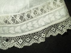 Antique Victorian Civil War Pair Undersleeves Bucks Bobbin Lace Whitework Trim Inside view | eBay