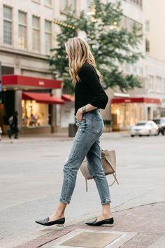 Fashion Jackson, Dallas Blogger, Fashion Blogger, Street Style, Black Bell Sleeve Top, Denim Ripped Mom Jeans, Celine Belt Bag, Nicholas Kirkwood Pearl Heeled Loafers