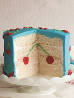 What's even better than a cake covered in cherries? A cake with an adorable cherry hidden inside! Pretty Cakes, Cute Cakes, Beautiful Cakes, Amazing Cakes, Sweet Cakes, Surprise Inside Cake, Cherry Cake, Blue Cherry, Gateaux Cake