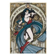 #Spring #AdoreWe #Zazzle - #Zazzle Wonder Woman Art Nouveau Panel Card - AdoreWe.com