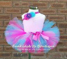 Hot Pink, Aqua and purple Tutu with matching headband -Smash Cake outfit- Make your Own Tutu-