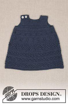 Serafina / DROPS Baby 31-17 - Strikket kjole med hullmønster og riller til baby. Størrelse 0 – 4 år. Arbeidet er strikket i DROPS Alpaca