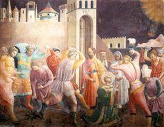 '`stoning` des saint etienne', fresques de Paolo Uccello (1397-1475, Italy)