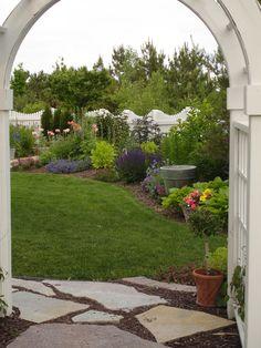 Courtyard, Cottage Garden Design, Arbor, Picket Fence, Perennial Border, www.sarahscottagecreations.com Us Images, Sidewalk, Cottage, Outdoor Structures, Perennial, Landscape, Beautiful Gardens, Building, Fence