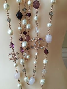 Chanel Rose Gold 4 CC Pearl Crystals Semi Precious Stones Necklace 3 Strands   $3,000.00