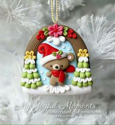 Handcrafted Polymer Clay Winter Bear Scene Ornament by Kay Miller. Polymer Clay Ornaments, Cute Polymer Clay, Cute Clay, Fimo Clay, Polymer Clay Projects, Polymer Clay Charms, Polymer Clay Creations, Clay Crafts, Crea Fimo