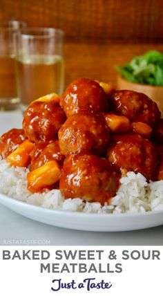 Recipe Sweet And Sour Sauce, Sweet N Sour Meatball Recipe, Sweet And Sour Recipes, Baked Meatball Recipe, Chicken Meatball Recipes, Yummy Chicken Recipes, Baked Chicken Meatballs, Meatball Sauce, Sweet Sour Chicken
