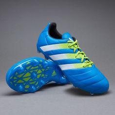 adidas ACE 16.2 FG/AG Leather - Shock Blue/White/Semi Solar Slime