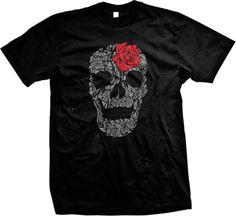 10.17 - Skull Made Of Roses Death Hardcore Biker Gothic Tattoos Skeleton  Mens T-Shirt c49aa6c9c1b