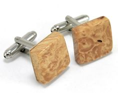 Handmade Men's Square Cufflinks with Maple Burl Wood