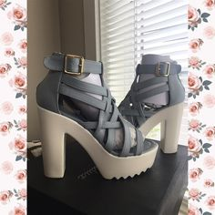 ☄ Ice cross strappy platform Doll up in any outfit w/these stylish heels! They will look super cute paired w/your favorite skinnies or dress. Make sure you add these to your closet, it definitely is a must have! The features for these chunky platform heels include a faux leather upper in a cross strappy design w/stitched trim, back zipper closure, side buckle accent, open toe, smooth lining and cushioned footbed. Approximately 5 inch heels and 2 inch platforms. NO TRADES  LET'S BUNDLE…